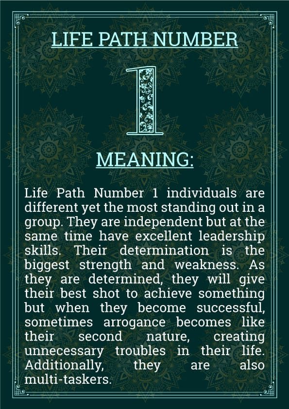 Life path number 1 Meaning