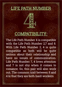 Life Path Number 4 Compatibility