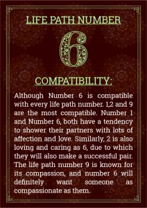 Life Path Number 6 Compatibility