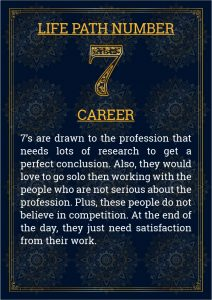 Life Path Number 7 Career