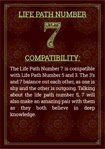 Life Path Number 7 Compatability